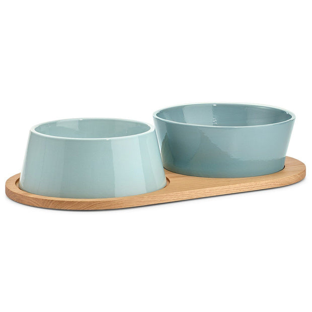 Inverted Ceramic Dog Bowl Set in Granite Gray