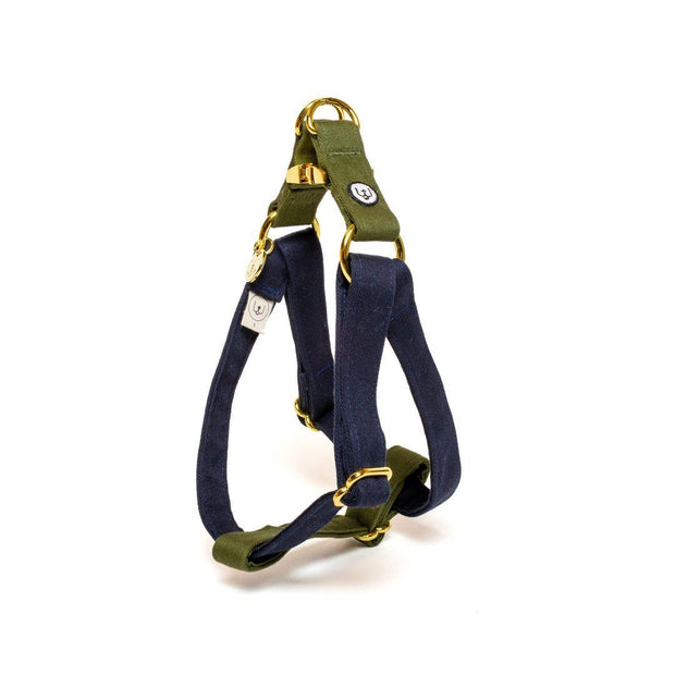 Two-Tone Canvas Easy Step-In Harness in Navy Blue and Grass Green - This Dog's Life