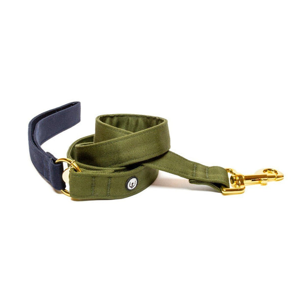 Two-Tone Canvas Leash in Navy Blue and Lilac Purple - This Dog's Life