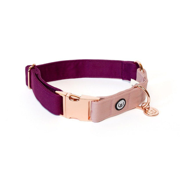 Two-Tone Canvas Collar in Rose Pink and Plum Purple