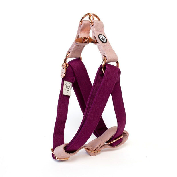 Two-Tone Canvas Easy Step-In Harness in Rose Pink and Plum Purple