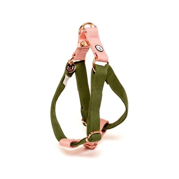 Two-Tone Canvas Easy Step-In Harness in Navy Blue and Grass Green