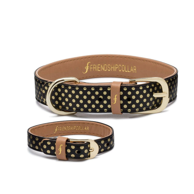 Vegan Leather Dog Collar and Matching Bracelet in Gold Polka Dots - This Dog's Life