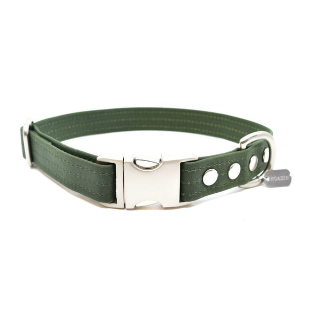 Vegan Waxed Canvas Collar in Forest Green - This Dog's Life