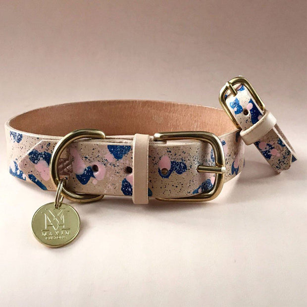 Matching Leather Dog Collar and Bracelet Set in Turquoise - This Dog's Life