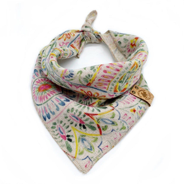 Natural Linen Dog Bandana in Boho Print
