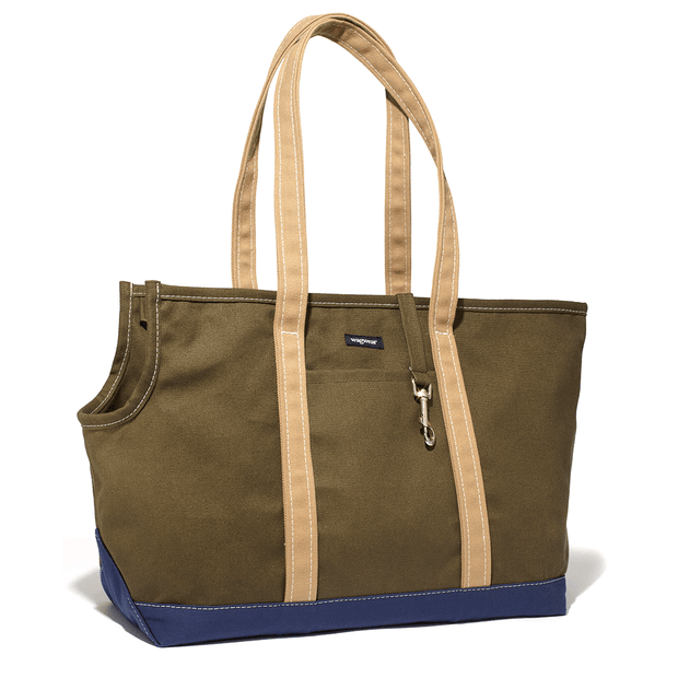 Versatile Tri-Color Dog Carrier in Olive, Tan and Navy - This Dog's Life