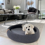 Oval Handwoven Roped Dog Bed in Coco Brown