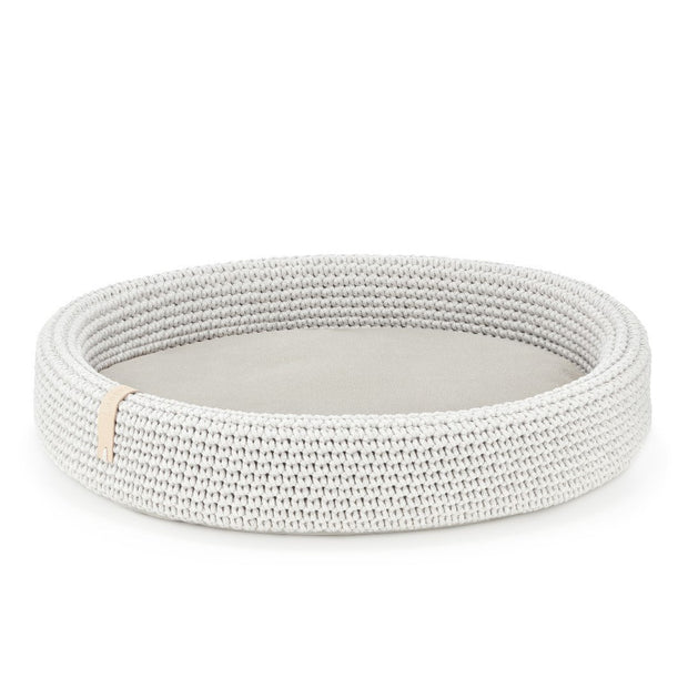 Oval Handwoven Roped Dog Bed in Silver Gray