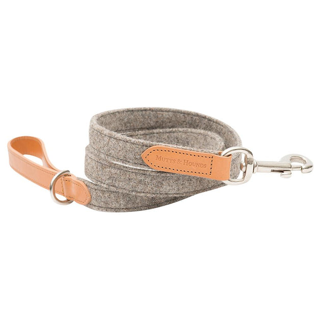 Camello Italian Leather and Grey Tweed Dog Leash