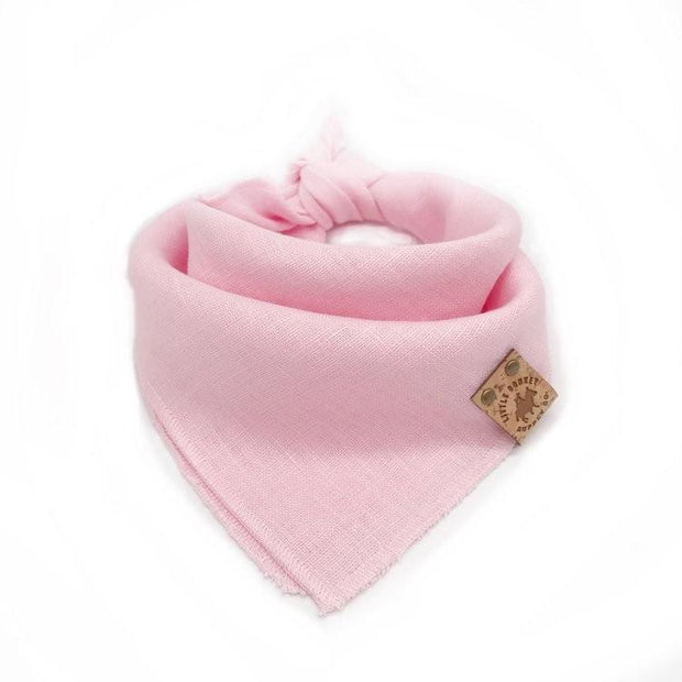 Stonewashed Linen Dog Bandana in Cotton Candy Pink