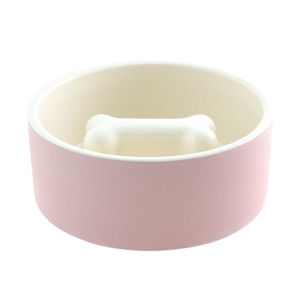 Dental Care Slow Feeder Ceramic Dog Bowl in Blush - This Dog's Life