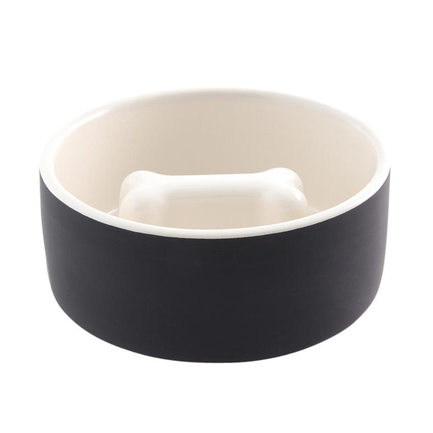 Dental Care Slow Feeder Ceramic Dog Bowl in Ebony - This Dog's Life