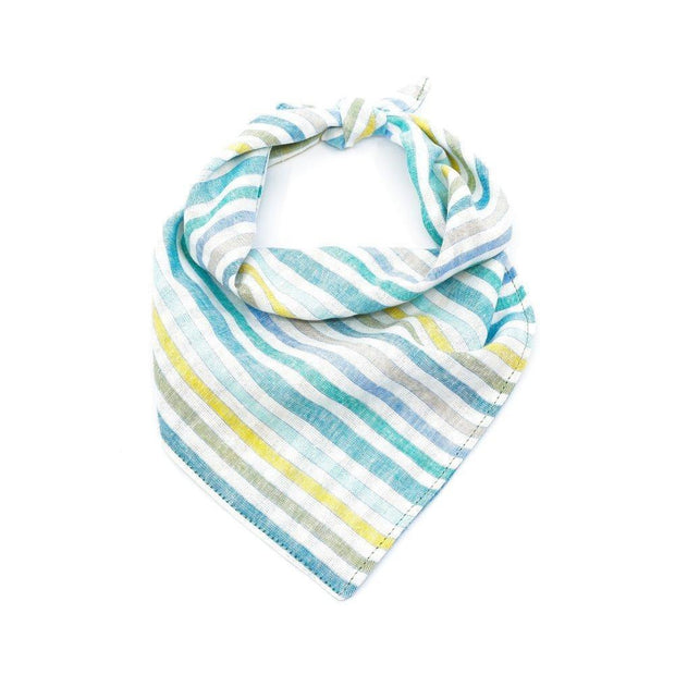 Linen Dog Bandana in Beach Stripe