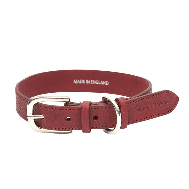 Merlot Italian Leather Dog Collar - This Dog's Life