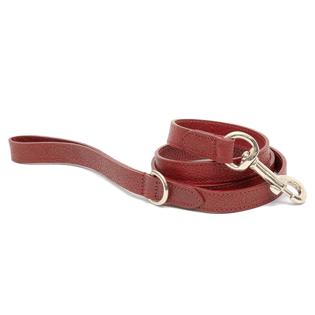 Merlot Italian Leather Dog Leash - This Dog's Life