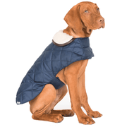 Quilted Waterproof Dog Jacket with Sherpa Fleece Collar in Navy