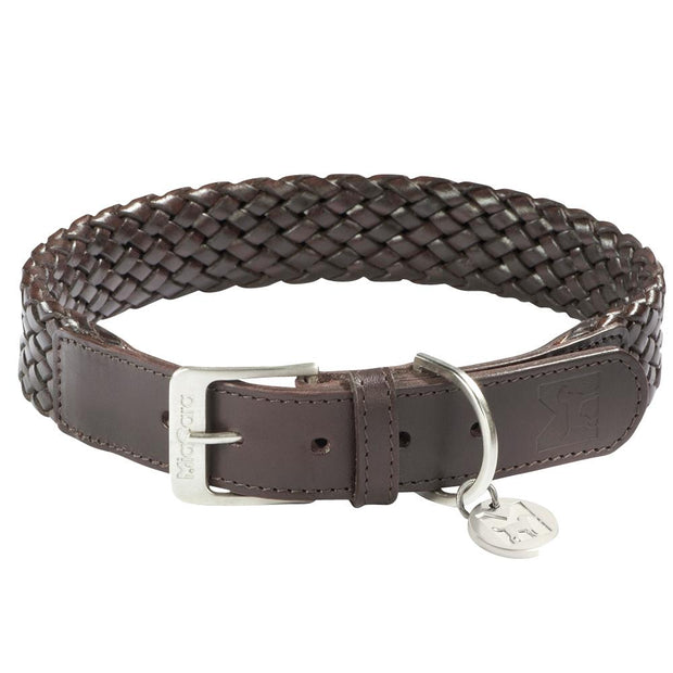 Braided Venezia Italian Leather Collar in Dark Brown - This Dog's Life