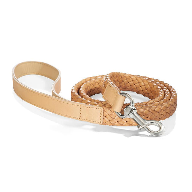 Braided Venezia Italian Leather Leash in Tan - This Dog's Life