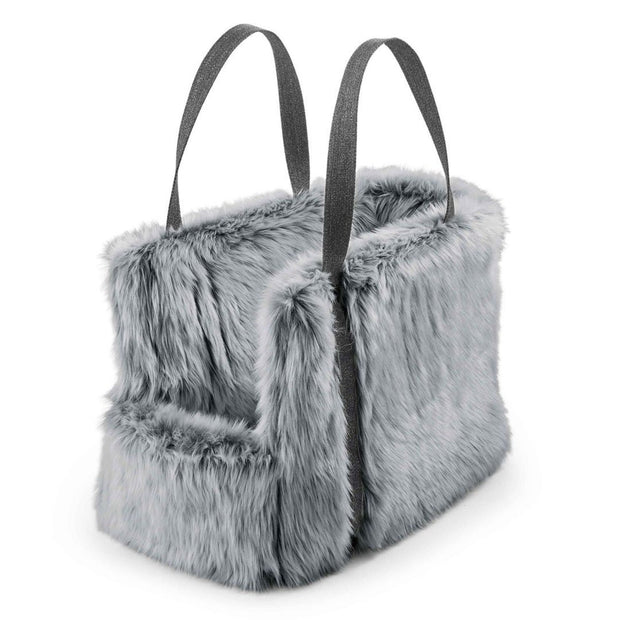All Over Faux Fur Dog Carrier in Pebble - This Dog's Life