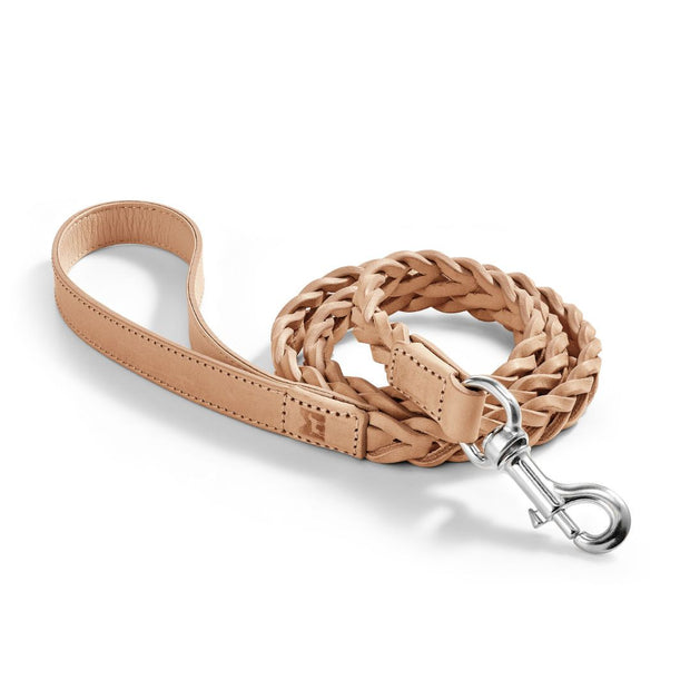 Hand-Braided Leather Leash in Tan - This Dog's Life