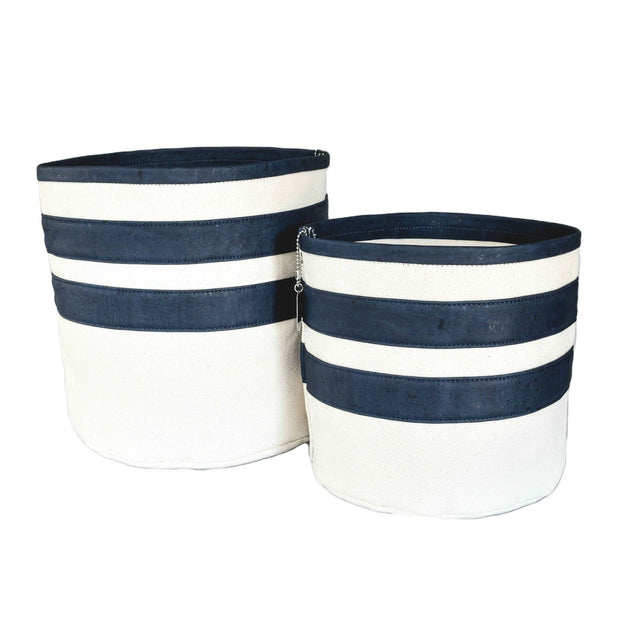Eco-Friendly Cork and Canvas Striped Dog Toy Bin in Navy Blue - This Dog's Life