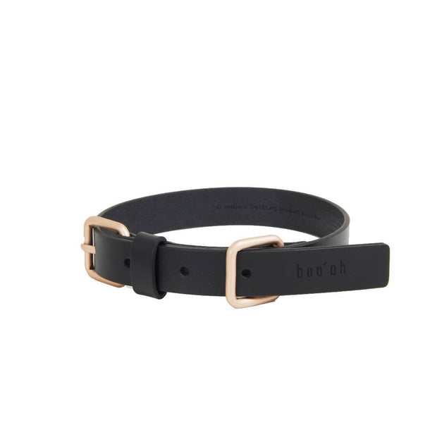 Handmade Premium Leather Collar in Classic Black and Gold