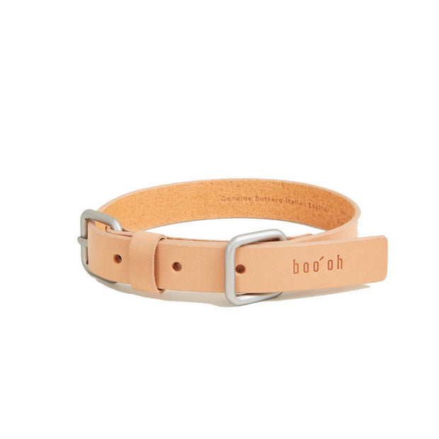 Handmade Premium Leather Collar in Natural and Silver