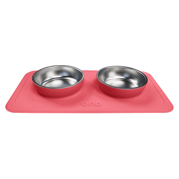 All-in-One Non-Slip Dog Bowl in Coral - This Dog's Life