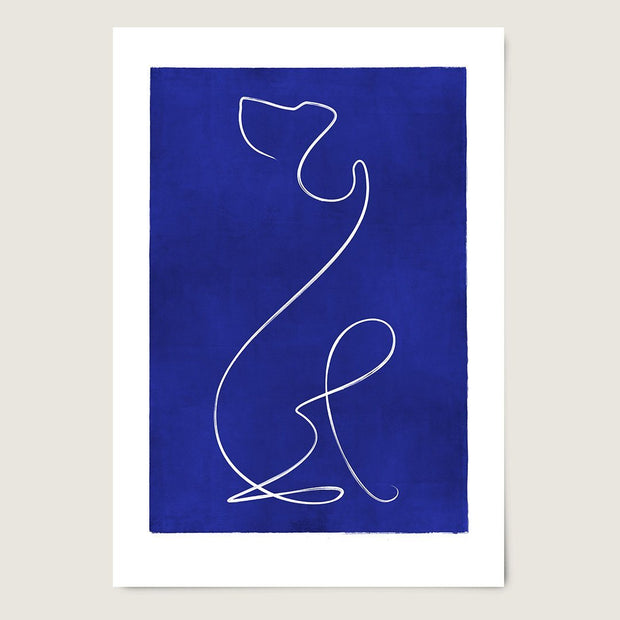 "Custom Breed Minimalist Dog Artwork in Blue (11"" x 17"") - This Dog's Life"