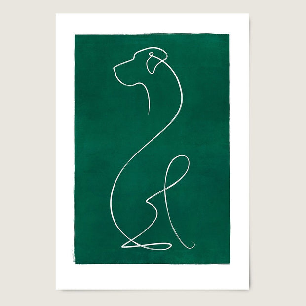 "Custom Breed Minimalist Dog Artwork in Green (24"" x 36"") - This Dog's Life"