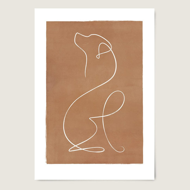 "Custom Breed Minimalist Dog Artwork in Brown (18"" x 24"") - This Dog's Life"