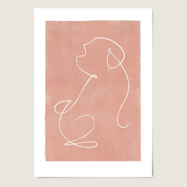 "Custom Breed Minimalist Dog Artwork in Pink (24"" x 36"") - This Dog's Life"