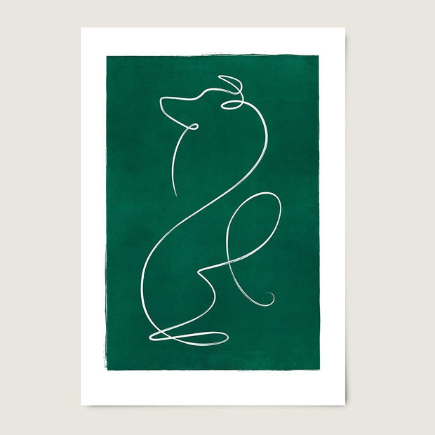 "Custom Breed Minimalist Dog Artwork in Green (11"" x 17"") - This Dog's Life"