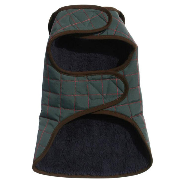 Waterproof Quilted Dog Jacket with Faux Lambswool in Hunter Green