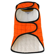 Waterproof Quilted Dog Jacket with Faux Lambswool in Pumpkin Orange