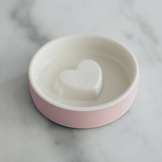 Slow Feeder Ceramic Dog Bowl in Pink Blush - This Dog's Life
