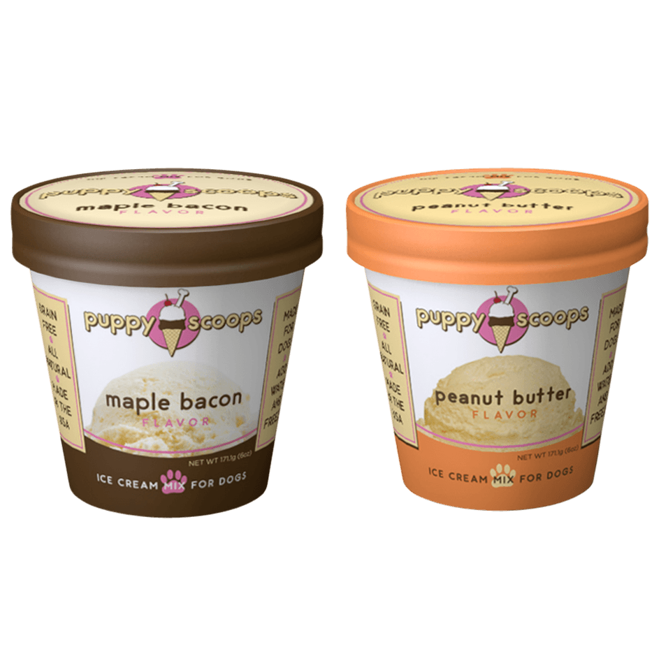 Puppy Scoop's Yummy Dog Ice Cream in Peanut Butter and Maple Bacon