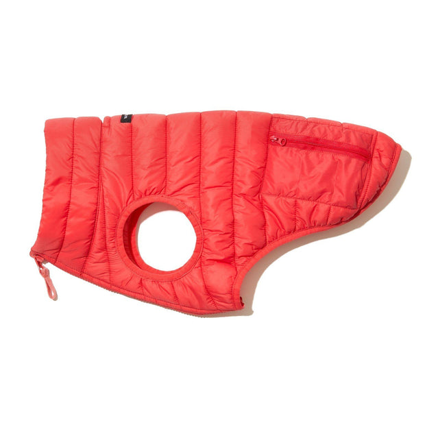 Reversible Water-Resistant Puffer Jacket Vest in Cherry Red and Salmon Pink