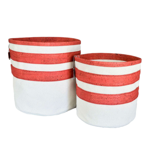 Eco-Friendly Cork and Canvas Striped Dog Toy Bin in Red - This Dog's Life