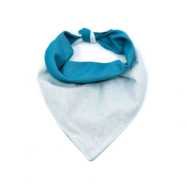 Reversible Linen Dog Bandana in Ocean and Ice Blue
