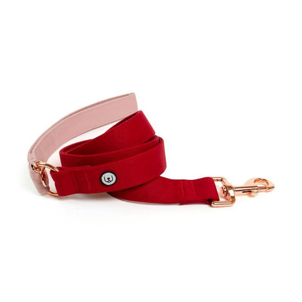Two-Tone Canvas Leash in Rose Pink and Ruby Red