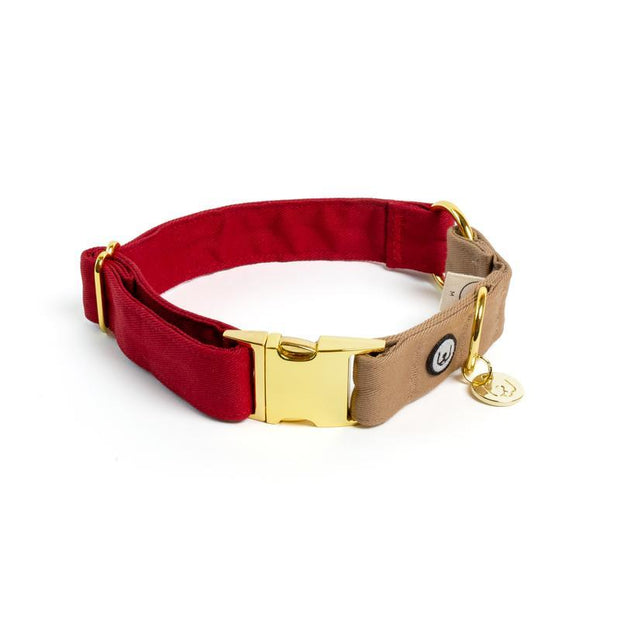 Two-Tone Canvas Collar in Ruby Red and Latte Brown