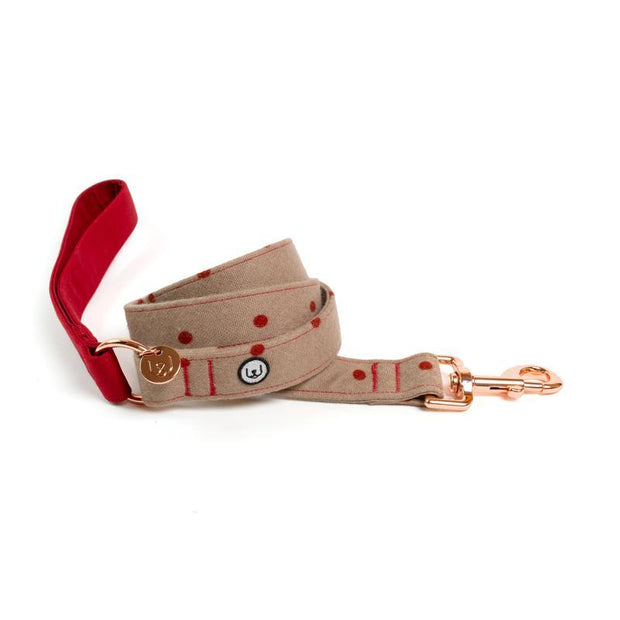 Two-Tone Canvas Leash in Ruby Red and Latte Brown