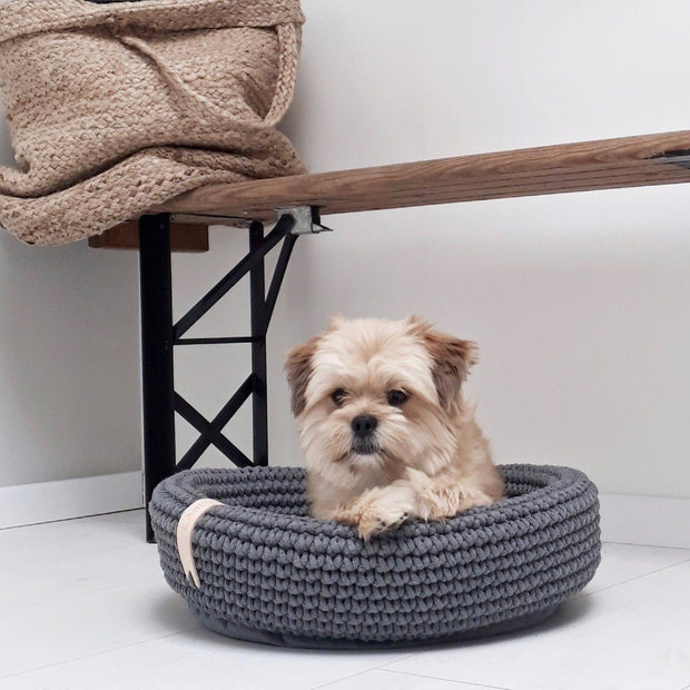 Small Handwoven Roped Dog Bed in Charcoal Gray