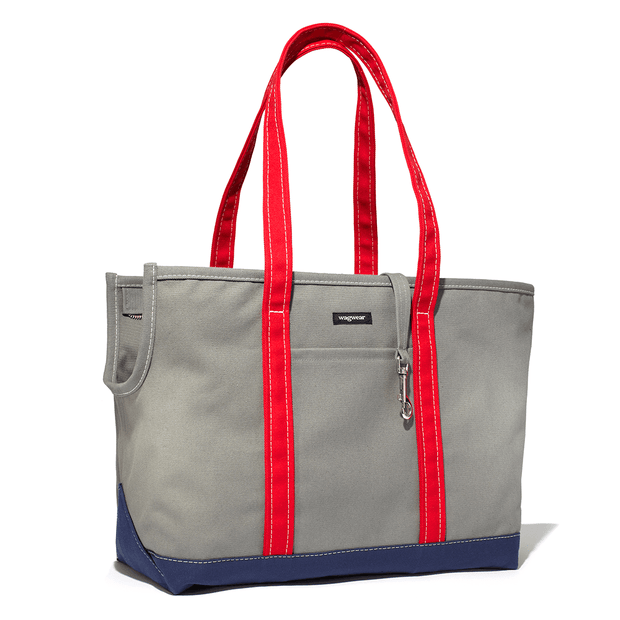 Versatile Tri-Color Dog Carrier in Gray, Navy and Red - This Dog's Life
