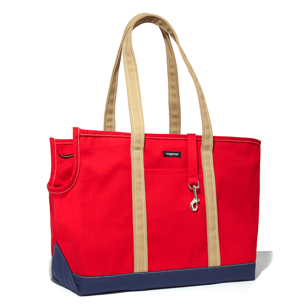 Versatile Tri-Color Dog Carrier in Red, Navy and Tan