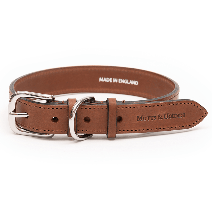 Tan Italian Leather Dog Collar