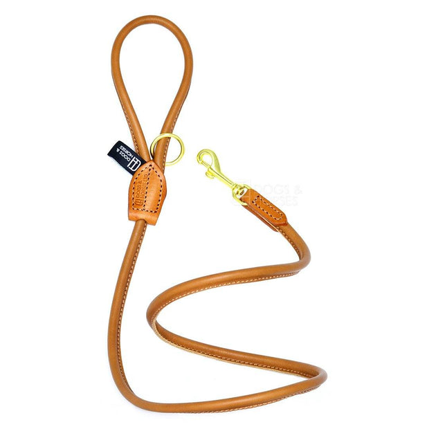 Rolled Leather Leash in Tan - This Dog's Life