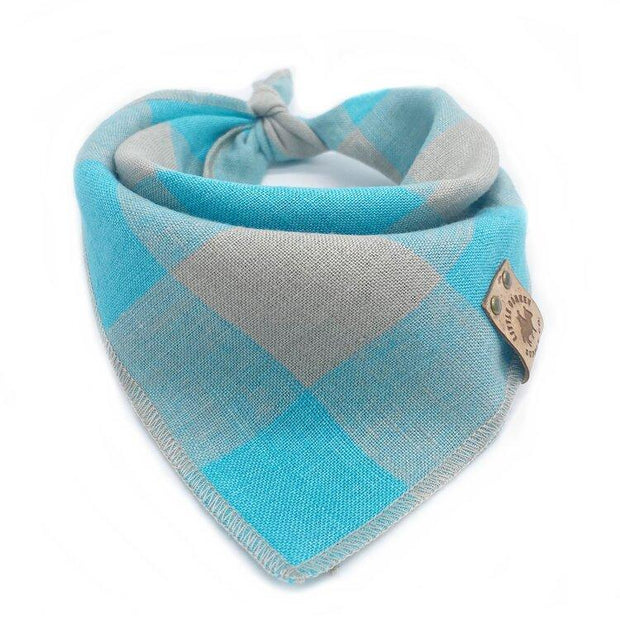 Stonewashed Linen Bandana in Teal and Gray Checkers